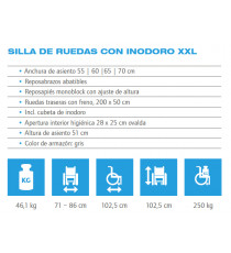 Silla de ruedas con inodoro XXL - 60