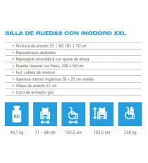 Silla de ruedas con inodoro XXL - 65