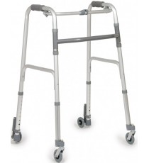 Andador Plegable Aluminio Anodizado 2 Ruedas Autobloqueantes