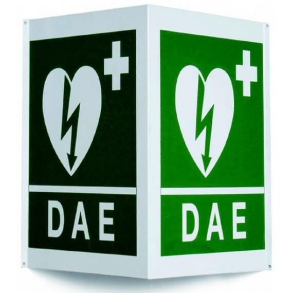 Cartel Doble Cara Pared Verde Símbolo Desfibrilación