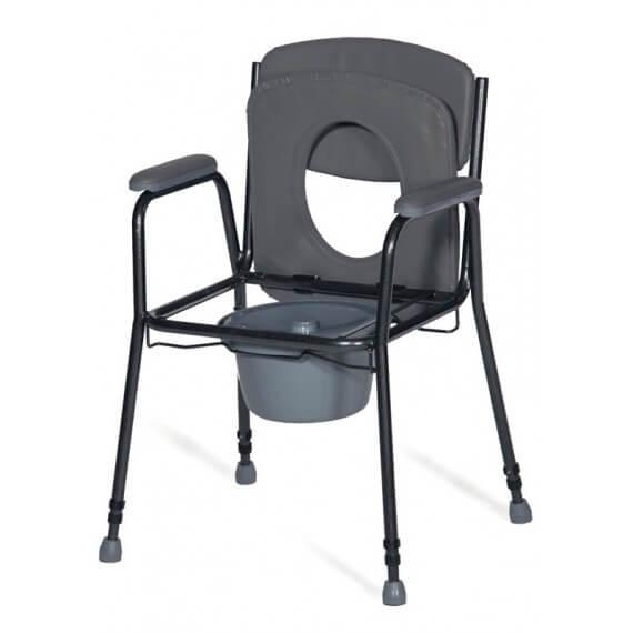 Silla WC Service Negra 100KG Tapadera Abatible