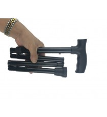 Muletilla Plegable Negro/Dorado Aluminio Regulable Altura
