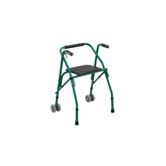 Andador 2 Ruedas Plegable Asiento Interiores Regulable