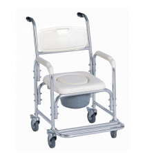 Silla Inodoro 3-1 WC Aluminio Ruedas Blanco