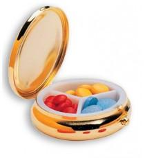 Pastillero Diario Round Fashion Dorado 3 Cajas Elegante