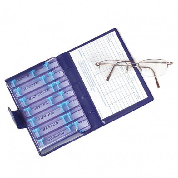 Pastillero Semanal Medidos Azul 7 Recipientes Tarjeta