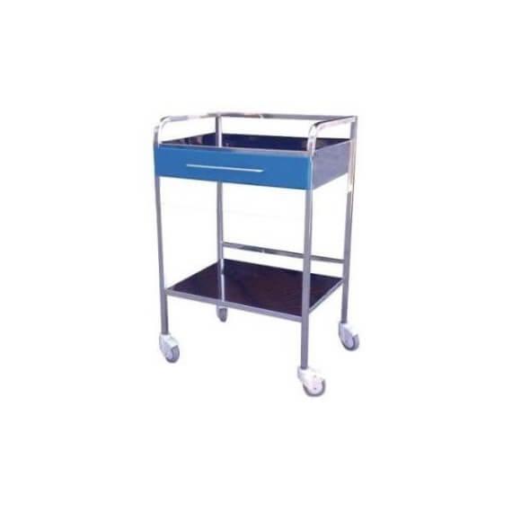Mesa Auxiliar Acero Inox 1 Cajón Plástico Azul