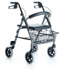 Rollator Rodable Plegable en Aluminio con Asiento y Respaldo Cosmomedica