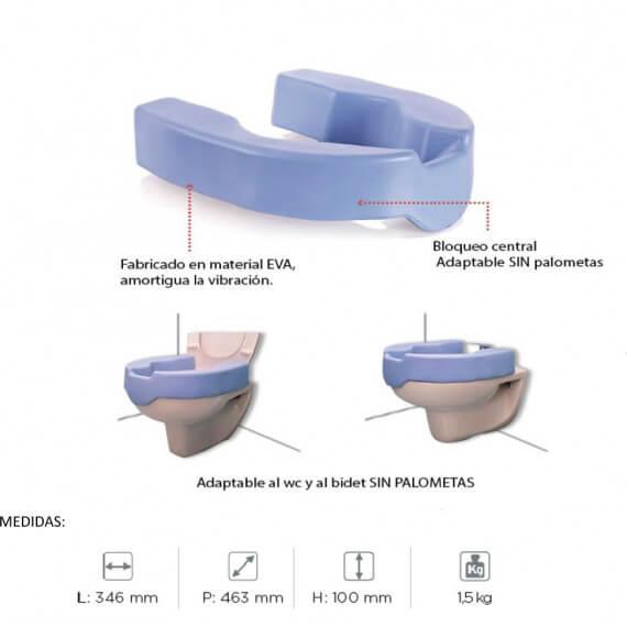 Elevador WC 10 cm bloqueo central